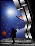 Stronaut on grey planet illustration Royalty Free Stock Image