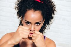 Strong African American Girl Black Woman Fighting For Self Defense royalty free stock photo