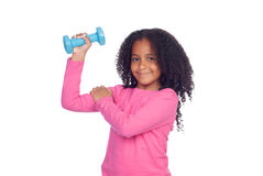 Strong African girl. Isolated on a white background stock photography