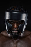 Strong african man wearing head protector Royalty Free Stock Photography
