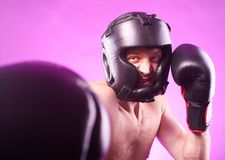 Strong aggressive boxer Stock Photos