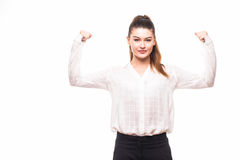 Strong aggressive business woman . stock photo