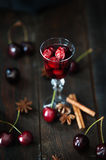 Strong alcohol cherry liqueur Royalty Free Stock Photography