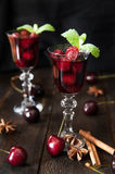 Strong alcohol cherry liqueur Stock Images