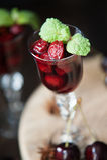Strong alcohol cherry liqueur Stock Photos