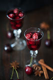 Strong alcohol cherry liqueur Stock Photography