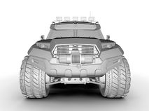 Strong all terrain truck front view. 3D render illustration of a strong all terrain truck frontal view illustration. The composition is isolated on a white Stock Image