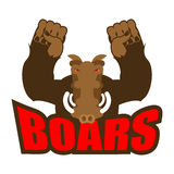 Strong angry boar warthog. Wild boar and barbell. Emblem for spo Royalty Free Stock Image