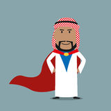 Strong arabian businessman in red cape Royalty Free Stock Photos