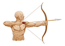 Strong archer with bow and arrow Stock Images