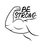 Strong arm icon. Line art. Bodybuilder muscle. Power. Be strong hand written lettering. Inspirational quote. Vector illustration Royalty Free Stock Images