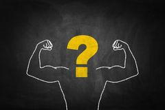 Strong Arms chalk drawing with question mark on blackboard.  Stock Photo
