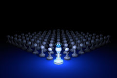 Strong army (chess metaphor). 3D rendering illustration. Free sp. Chess composition. Standing Out from the Crowd. Available in high-resolution and several sizes Stock Illustration