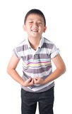 Strong Asian boy showing off his biceps flexing muscles his arm, isolated on white background.  royalty free stock photo