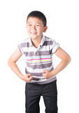 Strong Asian boy  showing off his biceps flexing muscles his arm, isolated on white background Stock Image