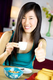 Strong asian woman ready for the day thumb up Royalty Free Stock Photos