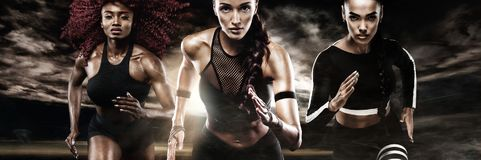 A strong athletic, women sprinter, running on dark background wearing in the sportswear, fitness and sport motivation Royalty Free Stock Photo