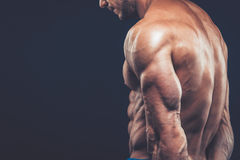 Strong athletic man back on dark background.  Royalty Free Stock Photo
