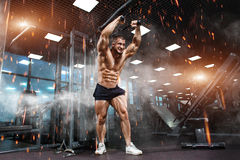 Strong Athletic Man bodybuilder showing muscles in gym Royalty Free Stock Images