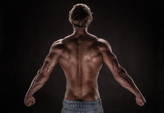 Strong Athletic Man Fitness Model. Posing back muscles, triceps, latissimus over black background stock image