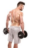 Strong Athletic Man Fitness Model posing back muscles, triceps, Royalty Free Stock Photo
