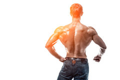 Strong Athletic Man Fitness Model posing back muscles, triceps o stock photography