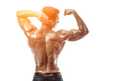Strong Athletic Man Fitness Model posing back muscles, triceps o stock image