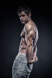 Strong Athletic Man Fitness Model posing triceps muscle Royalty Free Stock Photos