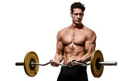 Strong Athletic Man Fitness Model Torso showing abdominal muscle Stock Photos