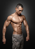 Strong Athletic Man Fitness Model Torso showing big muscles stock images
