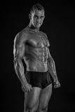 Strong Athletic Man Fitness Model Torso showing big muscles Royalty Free Stock Images