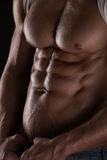Strong Athletic Man Fitness Model Torso showing six pack abs. Isolated on black background Stock Photography