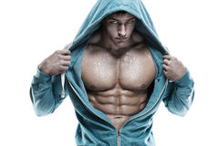 Strong Athletic Man Fitness Model Torso showing six pack abs. is Stock Photography