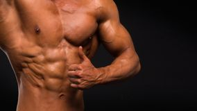 Strong Athletic Man Fitness Model Torso showing six pack abs on dark background royalty free stock photo