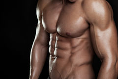 Strong Athletic Man Fitness Model Torso showing six pack abs. Stock Images