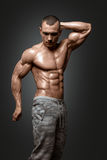 Strong Athletic Man Fitness Model Torso showing six pack abs. Stock Image