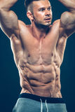 Strong Athletic Man Fitness Model Torso showing Stock Photos