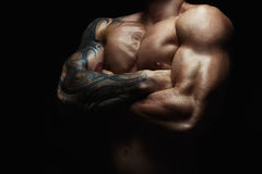Strong athletic man showes naked muscular body Royalty Free Stock Image