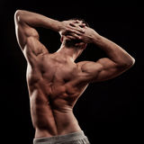 Strong athletic mans back. On dark background stock images