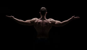 Strong athletic mans back on dark background Royalty Free Stock Image