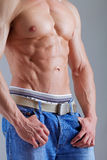 Strong athletic torso. Strong beautiful body on the grey background Royalty Free Stock Images