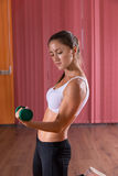 Strong athletic woman lifting weights Royalty Free Stock Images