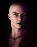 Strong Bald Futuristic Sci-Fi Woman Portrait. Digital illustration of a strong, futuristic sci-fi looking bald woman in heavy dark shadow Stock Photography