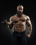 Strong bearded bodybuilder with six pack, perfect abs, shoulders. Biceps, triceps and chest. Power athletic bearded man in training pumping up muscles with royalty free stock image