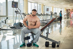 Strong bearded man in gym. Royalty Free Stock Photography