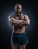 Strong bearded man with perfect abs, shoulders, biceps, triceps. And chest. Bodybuilder topless over black background stock photos