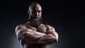 Strong bearded man with perfect abs, shoulders, biceps, triceps Stock Photo
