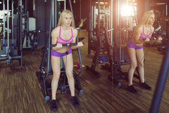 Strong and beautiful athletic woman training in the gym Stock Photos