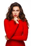 Strong beautiful woman with curly hair Royalty Free Stock Photos