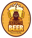 Strong Beer. Label with beer mugs and the text Strong Beer written inside Stock Photography
